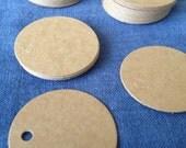 """Blank Circle Tags / Brown kraft hang tag 2"""" circle / price tag label, Medium size, gift tag, wedding favour tags, 5cm circle hang tag"""