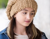 Sand Beige Soft Slouchy Hat, Winter Hat