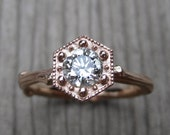 SALE: Moissanite Hexagon Twig Engagement Ring; Rose Gold; Forever Brilliant™; Ready to Ship