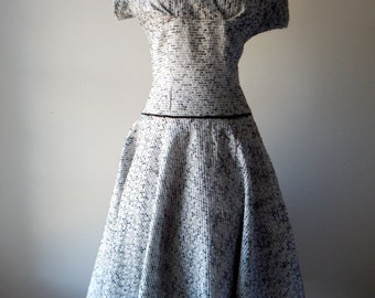 Tishbri Model dress | vintage 1950s dress | black and white 50s dress