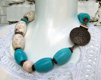 Big bold chunky blue turquoise and white howlite stone necklace, antiqued brass, big statement necklace, handmade jewelry by j.wray