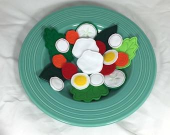 Felt Play Food Salad with Dressing 21 Piece Set