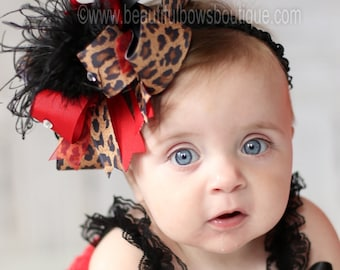 Red Leopard Over the Top Hair Bow, Over the Top Hairbow, OTT Headband,Baby Headband,Baby Headbands,Big Bows,Girls Headwrap,Big Feather Bows