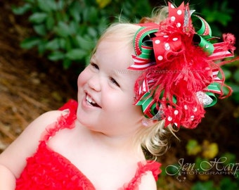 Over the Top Bows,Green and Red Baby Headband,Baby Headbands,Baby Headband,Christmas Headbands,Big Baby Bow,Girls Hair Bows,Christmas Bows