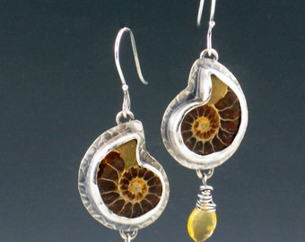 Ammonite and Citrine Earrings, dangle earrings, fossil earrings, seashell, shell earrings, sterling silver earrings, brown and gold, yellow