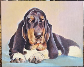 Custom Hand Painted Pet Portrait Acrylic 16 x 20 Great Gift