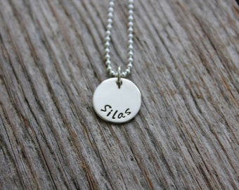 Singleton -- Hand Stamped Sterling Silver 1 Initial Tag Necklace