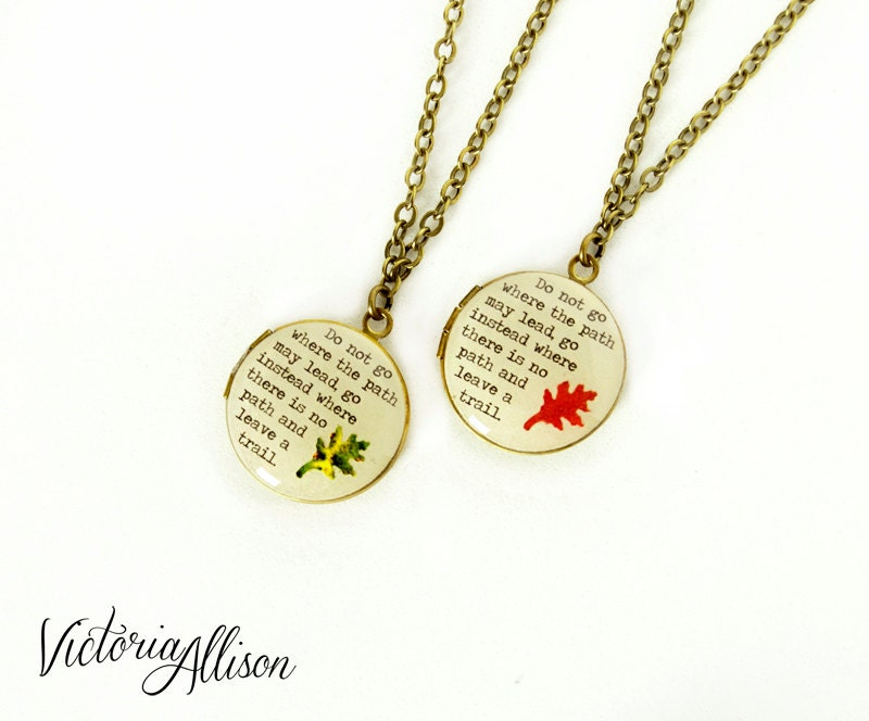 Small Leaf Locket Necklace With Emerson Quote Do Not Go Where