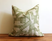 Zak and Fox Designer Pillow Cover - Aztec - Tribal - Green and Oat Natural Linen - Hand Printed Pillow Cover - Pattern on Both Sides
