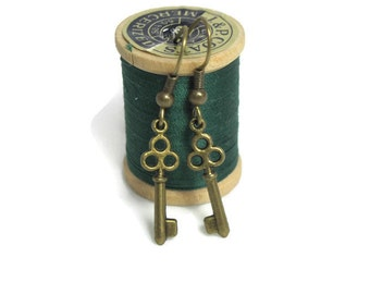 Skeleton Key Earrings, Antique Bronze Color, Vintage Look Pirate Skeleton Key. Gothic Steampunk Mini Skeleton Key Charm Dangle Earrings.