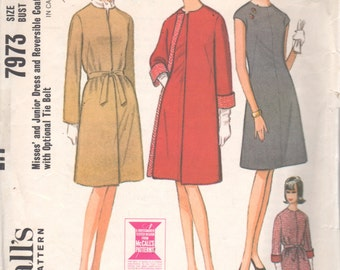 McCalls 7973 1960s Misses Easy Dress with French Darts and REVERISBLE Coat Pattern Womens Vintage Sewing Pattern Size 14 Bust 34