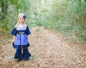 Girls Blue Dress - Girls Outfit - Ruffle Pants - Kimono Dress - Birthday Outfit - Boutique Outfits -  Toddler Outfit - Sizes 2T to 7