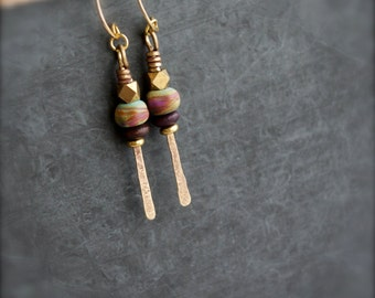 Red Swirl Glass Earrings - Gold Brass Stick, Brown Cherry Wood, Colorful Aqua Blue Dangle, Boho Bohemian Festival Jewellery