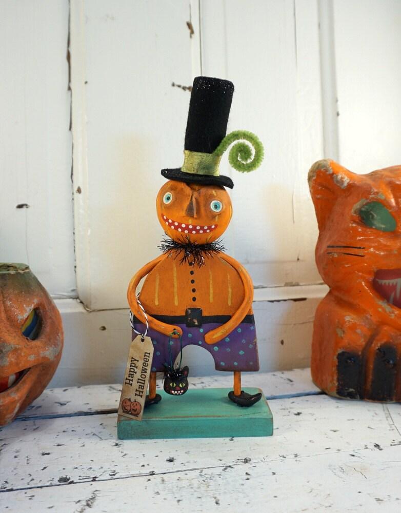 Halloween Decor / Halloween Folk Art / Pumpkin / Vintage Style