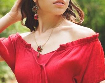 Ruby Renaissance Necklace, Ren Faire Jewelry, Tudor Costume, Medieval Wedding, Renaissance Bride, Handfasting, Pagan, Choose Your Color