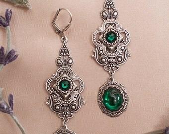 Emerald Renaissance Earrings, Victorian Earrings, Garb, Queen, Ren Faire, Tudors, Medieval Wedding, Victorian Earrings, Avalon