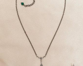 Renaissance Necklace, Emerald, Tudor, Medieval Jewelry, Ren Faire, Garb, Victorian Pendant, Handfasting, Renaissance Jewelry, Avalon