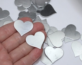 """5+ Silver heart blanks, 1"""" aluminum stamping blank, solid metal hearts for crafts and jewelry, dark silver gray toned S"""