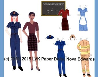 Labor Day American Worker Paper Dolls