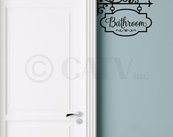 Bathroom Hang Sign vinyl lettering wall decal sticker self adhesive removable quote
