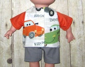 Caillou Classic 14.5 inch Doll Clothes Honk Honk Vroom Car Shirt and Short  Set  Made In Usa   PBS  Sprout