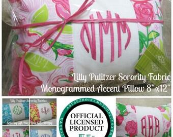 "Monogrammed Delta Zeta Pillow (Lilly Pulitzer Sorority Fabric) w/ INSERT 8""x12""/Sorority Gift/ Big/ Little Gift/Bid Day/Chapter Gift"