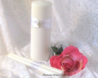 Wedding Candle Unity Candle Set Romantic Art Deco Wedding Bling Unity Candle Ribbon & Candle Color Choice Candle Stand Optional