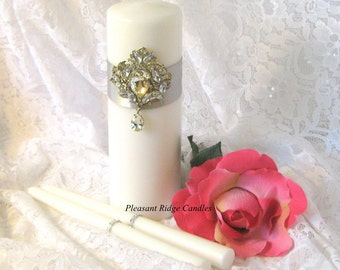 Unity Candle Set Subtle Gold Wash Brooch Romantic Wedding Candle Art Deco Wedding Candle Ribbon & Candle Color Choice Candle Stand Optional