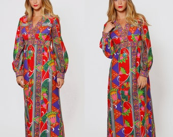 Vintage 60s PSYCHEDELIC Print Maxi Dress Hawaiian Dress Empire Waist Floral Dress TORI RICHARD Dress