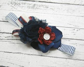 Burgundy navy blue white flower headband