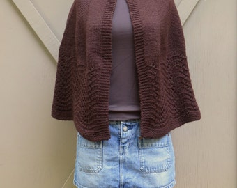 70s vintage Handmade Chocolate Brown Acrylic Knit Capelet / Brown Knit Poncho