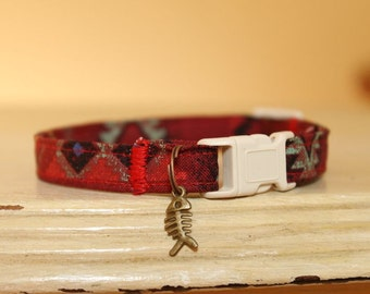 Cherokee Red Cat Collar with Bronze Fish Charm, Comfortable, Adjustable, Southwestern Style