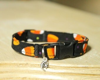 Candy Corn Halloween Cat Collar with Bell or Moon Charm