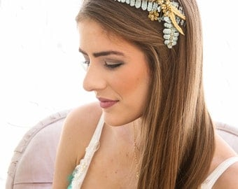 Rustic Gold and Aqua Blue Wedding Hair Comb Vintage Look Wedding Headpiece of Velvet Leaves and Brass Flowers Boho Wedding Hair Accessory