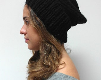hand knit SLOUCH HAT / thick knitted warm hat / wool