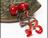 Wildfire... Handmade Jewelry Earrings Beaded Enamel Stone Antique Copper Red Orange Celery Green Rustic Boho Asymmetrical Ombre Artisan