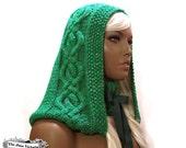 Cabled Hood Knitting PATTERN, Elbereth Telemnar, PDF DOWNLOAD