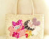 Colorful flower pink sequin hand-embroidered Mexican straw basket
