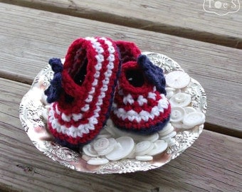 Patriotic Baby Mary Janes, Crochet Baby Girl Shoes, Red White and Blue Baby Shoes, Mary Jane Baby Shoes, Fourth of July Baby Girl Booties