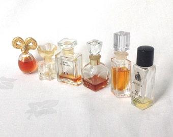 6 Miniature Eau de Toilette Perfume Bottles 1970s