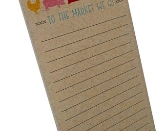 Red Barn Farm Animals to the Market we go Notepad on Kraft Paper