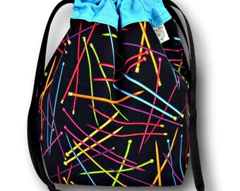 Knitting Needles -A  One Skein Project Bag for Knitting