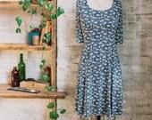 Marion Liberty Print Dress - floral dress - flared dress - navy blue dress - knee length dress - casual dress - Liberty of London dress