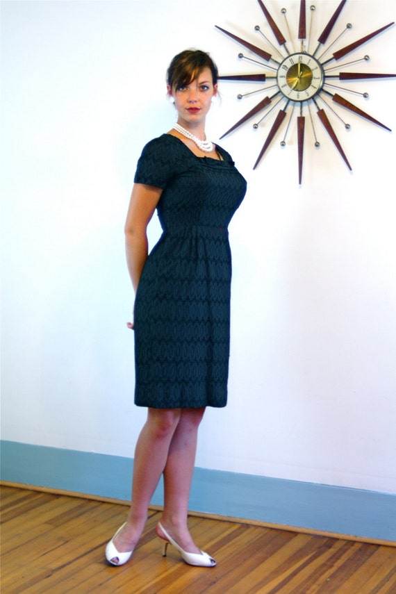 Vintage 60s Black Eyelet Wiggle Dress by Ann Colby Sexy Slinky Fitted Tight Cotton Shift Bombshell 1960s MAD MEN Retro Cocktail Party LBD
