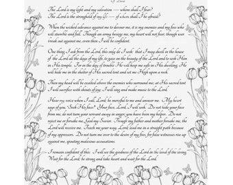PSALM 27:1-14 NIV Calligraphy Wall Art Print VintageVerses Custom Christian Home Decor Sale Bargain Bin PIF Pay It Forward Gray Linen Look