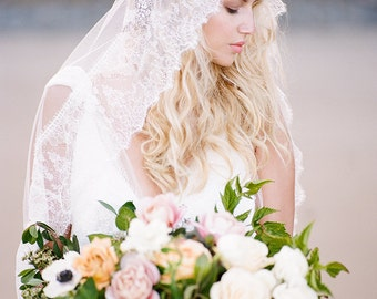 Bohemian French Chantilly Lace Ivory Bridal Veil with Crystals, Chapel Length Wedding Veil - Style 402