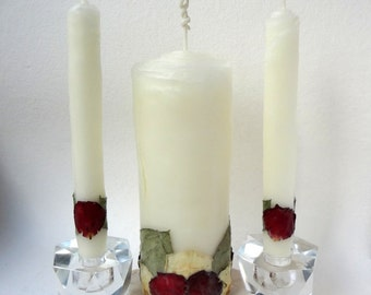 Elegant Wedding Unity Candle Set, Your Choice Petal Color, Unique Unity Wedding Candle, Romantic Wedding Candles, Beeswax Rose Candles