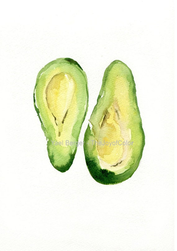 Avocado Art Print, kitchen art, Botanical watercolor print, Avocado green, second open edition print, Peridot green, kitchen decor