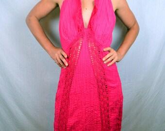 Beautiful Hippie Pink Lace Halter Sun Dress