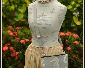 Gray Seahorse Cross Body Bag - iPad Mini - Day Bag